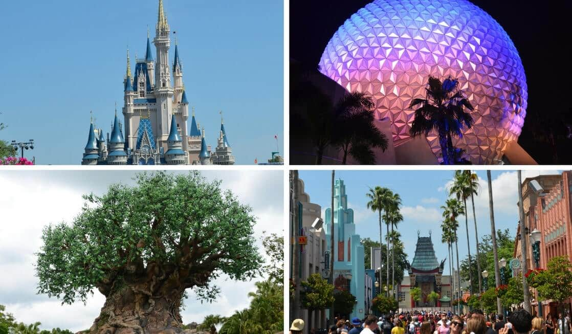 The four main Disney Theme Parks in Orlando